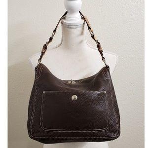 NWOT Coach Brown Pebbled Leather Hobo Handbag